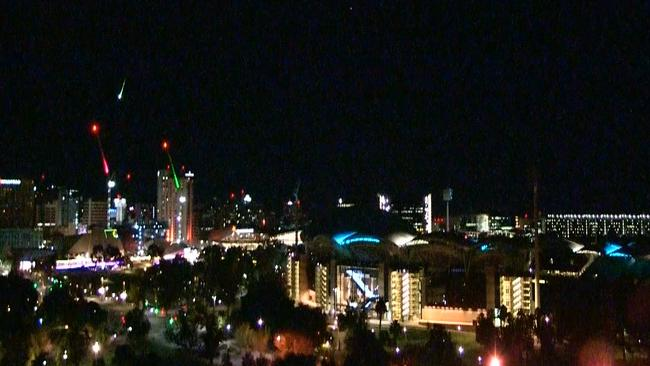 The meteor caused a fireball over the Adelaide CBD last night. Picture: 9 News