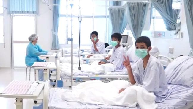 The rescued boys recovering in hospital last week.