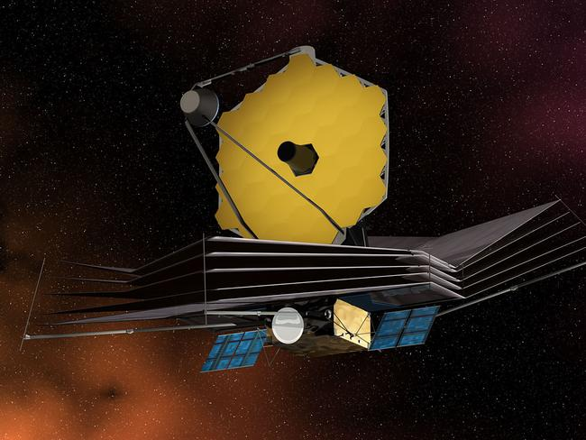 A computer-rendered illustration of the James Web Space Telescope displaying its primary mirror, sun shield, solar panels and spacecraft bus. Picture: NASA