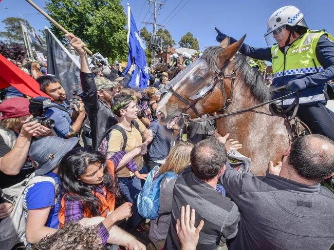 Anti-Islam protesters clash with Rally Against Racism group and police. Picture: Jason Edwards