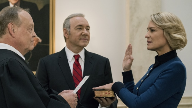 Robin Wright as Claire Underwood and Kevin Spacey as Frank Underwood on 'House Of Cards'. Image: Netflix