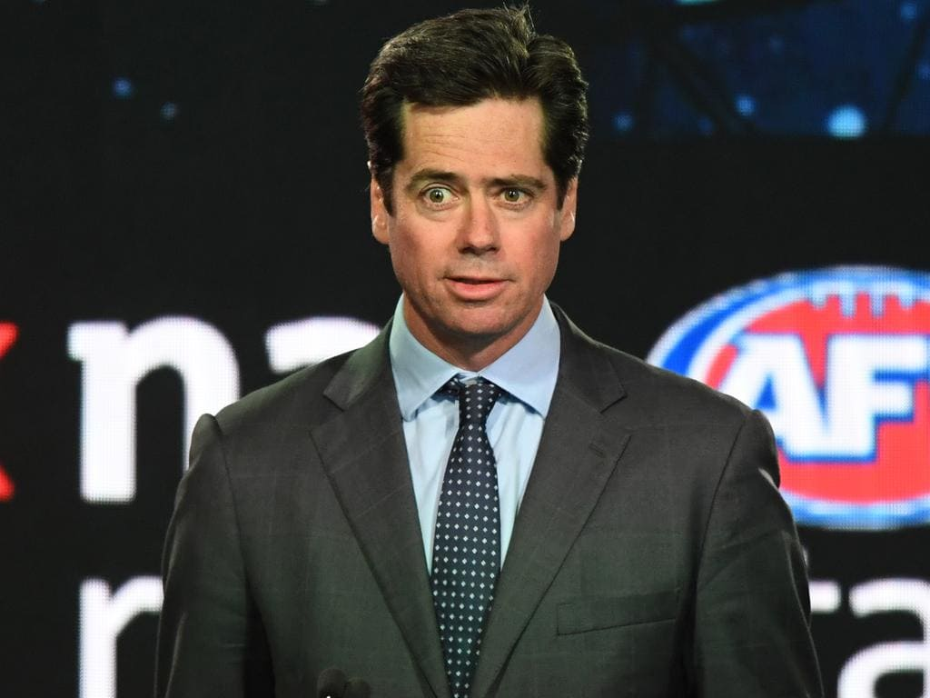 AFL CEO Gillon McLachlan addresses the crowd at the start of the 2018 AFL Draft at Marvel Stadium in Melbourne, Thursday, November  22, 2018. (AAP Image/James Ross) NO ARCHIVING