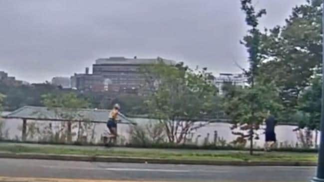 She yells at the man along Memorial Drive in Cambridge, Massachusetts. Picture: Boston News 25
