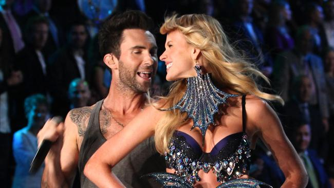 Then-couple Adam Levine and Anne Vyalitsina at the 2011 show. Picture: VS / Splash News Splash News and Pictures.