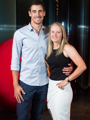 Mitchell Starc and wife Alyssa Healy. Photo: Stuart Walmsley