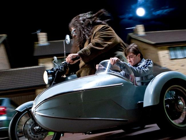 Hagrid and Harry in a scene from Harry Potter and the Deathly Hallows, Part 1.