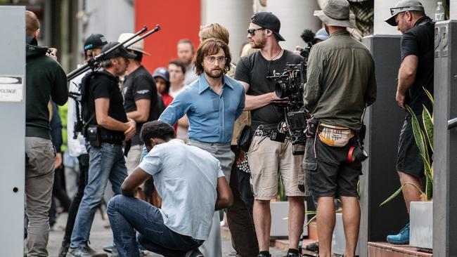 "Daniel Radcliffe on set during the filming of ""Escape from Pretoria"" in Pirie St, Adelaide. Picture: Morgan Sette / The Advertiser"