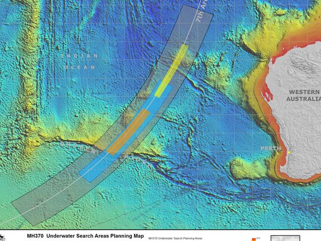 Underwater search areas planning map for MH370. Picture: Supplied