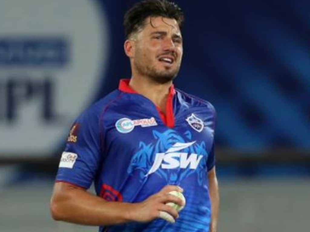 Marcus Stoinis pulled up sore during his second over // BCCI/IPL