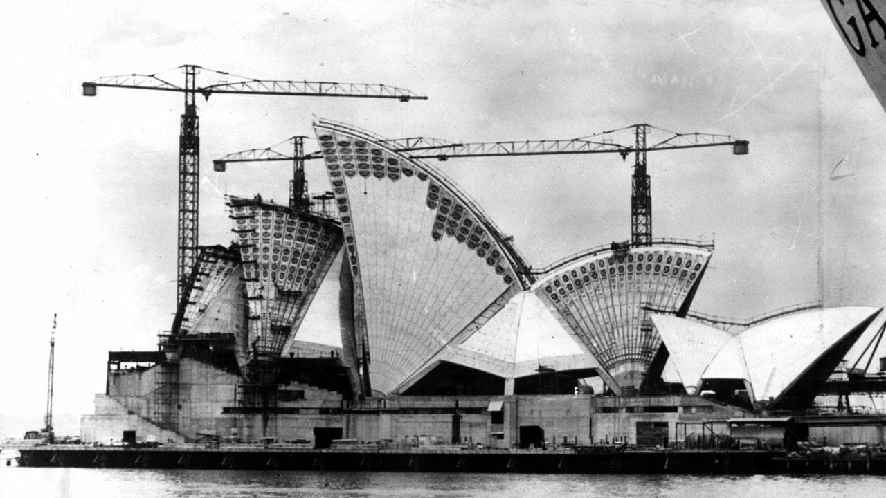 Sydney Opera House taking shape in about 1966.