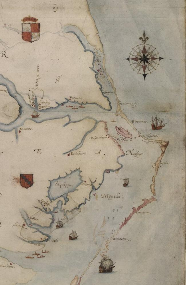The map, which Governor John White began drawing in 1585, in full. Picture: British Museum
