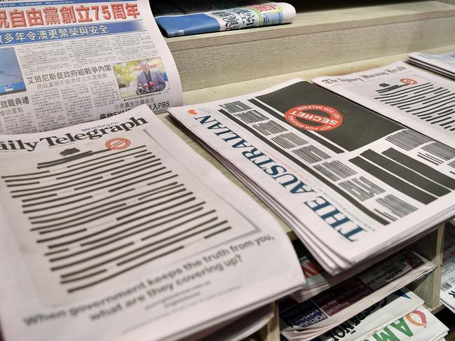 Australian newspapers featuring redacted front page stories on Monday this week. The campaign has made headlines around the world. Picture: AAP Image/Joel Carrett
