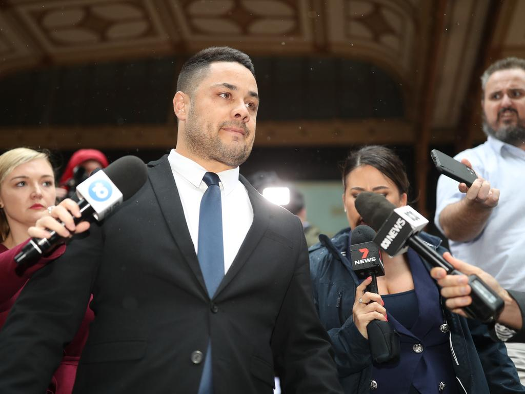 Former NRL superstar Jarryd Hayne leaves Sydney's Downing Centre District Court after being found guilty of sexual assault. Picture: NCA NewsWire/Christian Gilles.