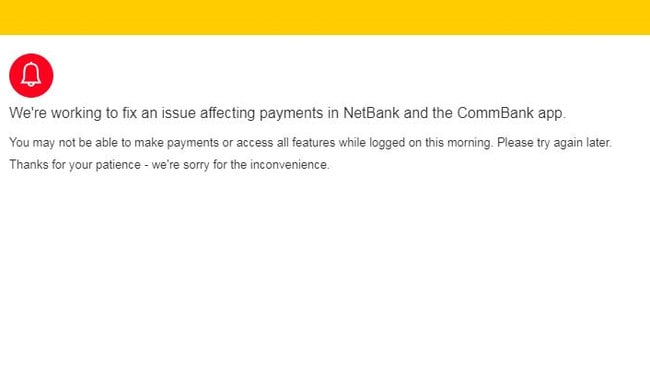 The notification Commonwealth Bank customers got yesterday when they tried to login.