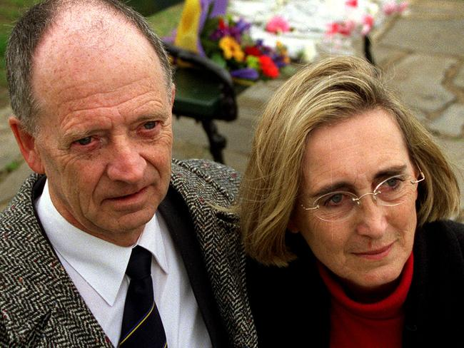 Kirste's parents Greg and Christine Gordon attend a 2002 memorial for their missing daughter. Picture: Supplied