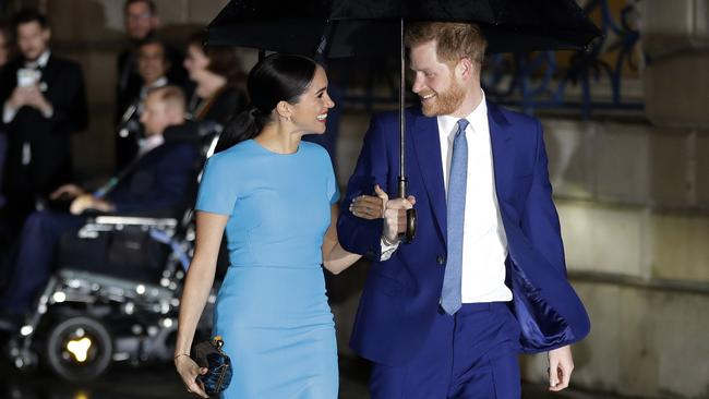 Meghan and Harry at one of their final engagements as senior royals in March. Picture: Kirsty Wigglesworth/AP