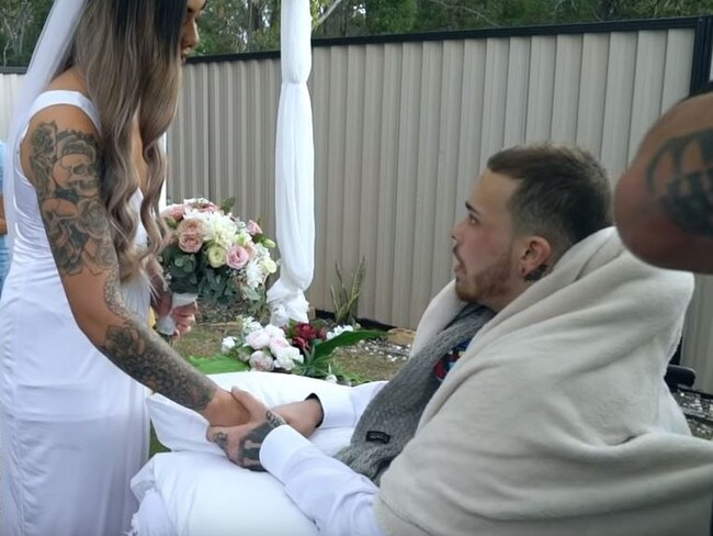 Navar and Maia wed in an emotional backyard ceremony. Picture: Dion Taumata/YouTube