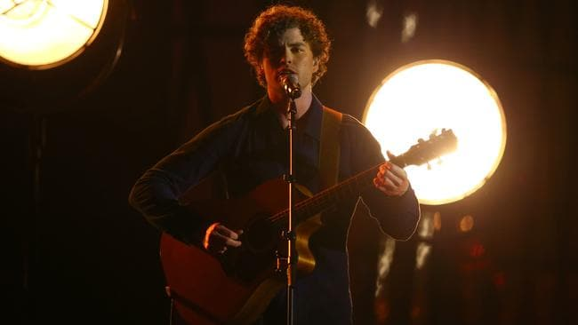 Success ... Vance Joy kicks off the ARIA Awards ceremony before winning Best Male Artist. Picture: Ryan Pierse/Getty Images