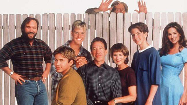 Some of the Home Improvement stars: Richard Karn with Johnathon Taylor Thomas, Zachary Ty Bryan, Tim Allen, Patricia Richardson, Taran Smith, Debbe Dunning and Earl Hindman.
