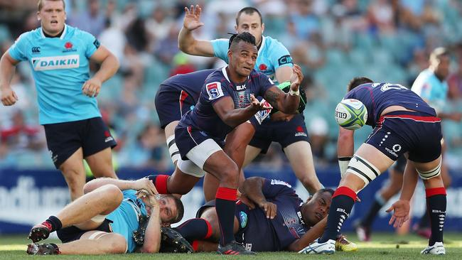 Will Genia passes during the Rebels' loss to NSW.