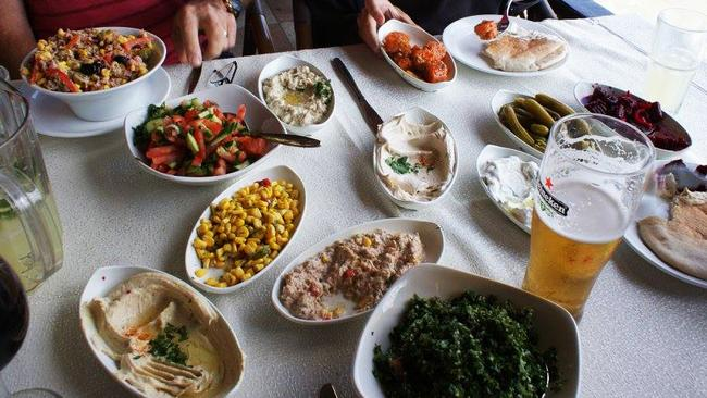 Some of the incredible food Christine and her family ate in Israel. Picture: Christine Vanden Byllaardt
