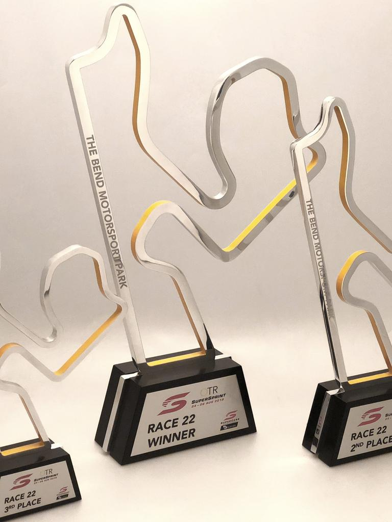 The trophies that will be used at the first ever OTR SuperSprint at The Bend. Pic: Supplied