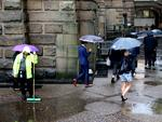As The low hits Sydney people around town hall .picture John Grainger