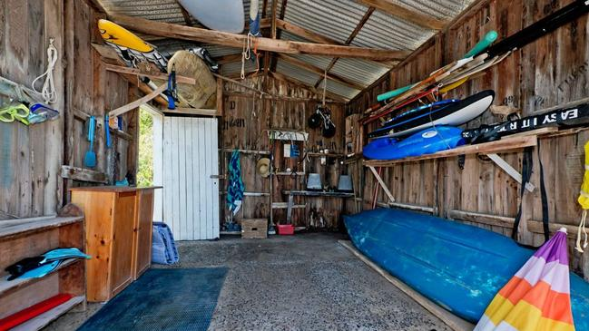 Inside the boat shed.