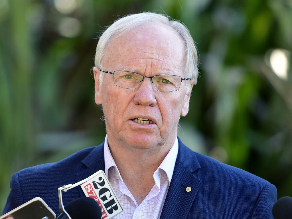 Australian Rugby League Commission chairman Peter Beattie speaks to the media during a press conference in Balmain East, Sydney, Sunday, July 28, 2019. Peter Beattie will push for the elimination of mandatory three-year stand downs for eligible commissioners as the search begins for Mark Coyne's successor, after he handed in his resignation following his arrest in Singapore. (AAP Image/Bianca De Marchi) NO ARCHIVING