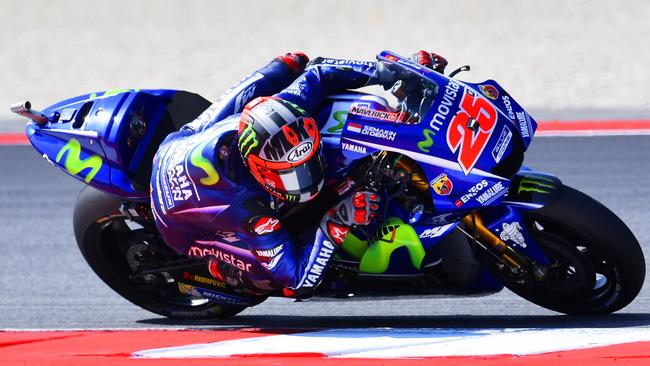 Maverick Vinales ijn action at the Marco Simoncelli Circuit ahead of the San Marino Moto GP Grand Prix race in Misano.