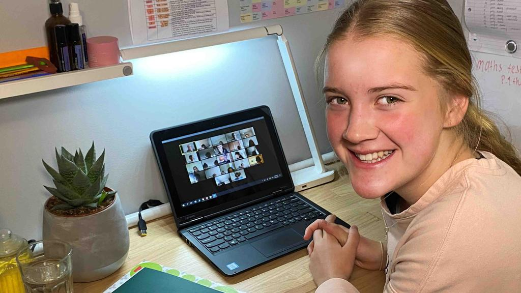 Gippsland Grammar Year 9 student Lucy Best, 14, using Zoom to connect with her peers as part of the School's Learn@Home program.