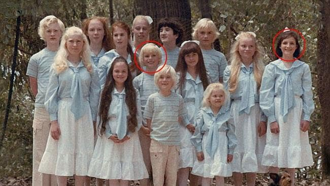 Ben Shenton (centre circled) among the 14 children in The Family cult dressed in matching outfits. Picture: 'The Family'.