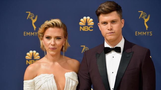 Scarlett Johansson and Colin Jost at the 70th Emmy Awards.