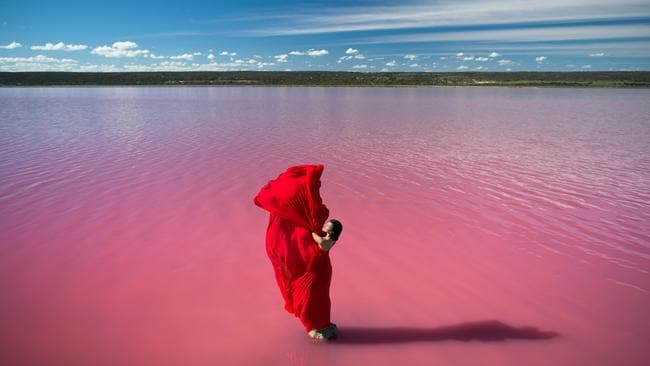 One of the photos featuring Hutt Lagoon in Lancome's advertising. Picture: Luke Shadbolt.