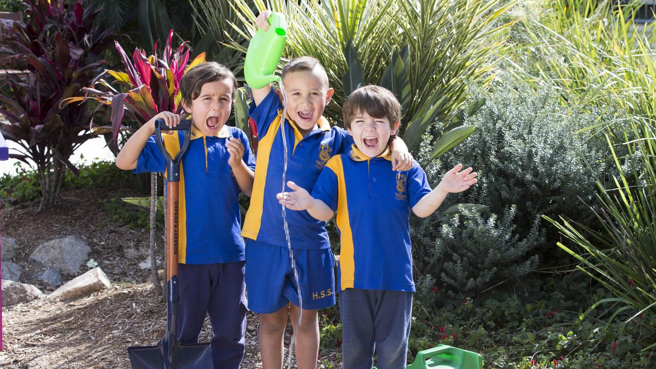 Raphael, Steven and Malakai at Humpybong State School in Queensland are joining Schools Tree Day. Picture: AAP