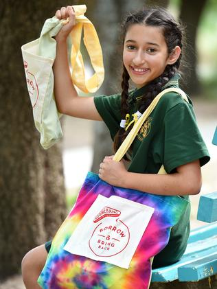Alia Ferdowsian, 11, has been sewing reusable shopping bags to help reduce the use of plastic bags. Picture: Steve Tanner
