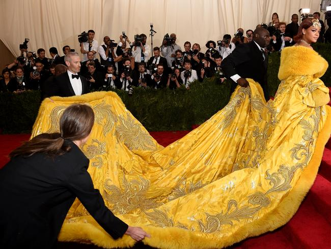 A lot of look ... Rihanna's dress has inspired comparisons to Spongebob.