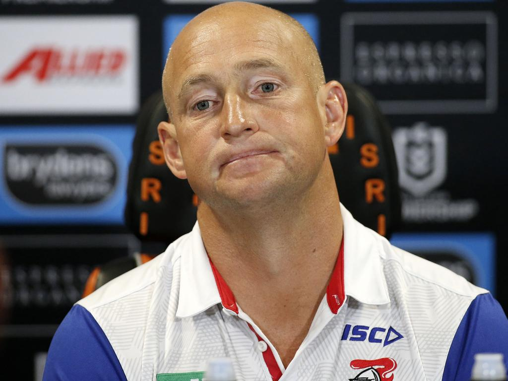 Knights coach Nathan Brown speaks to the media during a post-match press conference following the Round 23 NRL match between the Wests Tigers and the Newcastle Knights at Campbelltown Stadium in Sydney, Saturday, August 24, 2019. (AAP Image/Darren Pateman) NO ARCHIVING, EDITORIAL USE ONLY