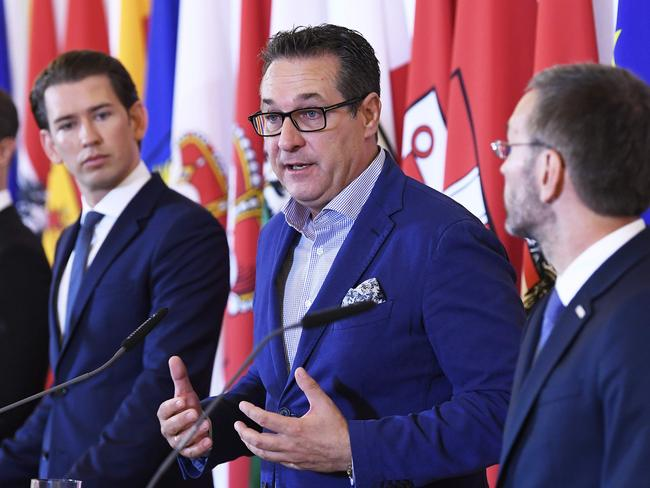 "Austrian Chancellor Sebastian Kurz, Vice-Chancellor Heinz-Christian Strache and Interior Minister Herbert Kickl give a press conference in Vienna to announce government crackdown on ""political Islam"". Picture: AFP"