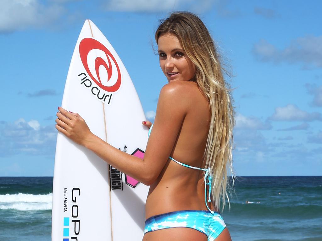 Hawaiian professional surfer Alana Blanchard in Sydney for the Australian Open of Surfing, with North Steyne Surf Life Savers at North Steyne beach, Sydney.