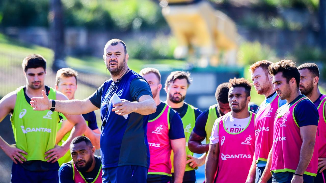 Michael Cheika runs his squad through their paces ahead of the squad's departure to South Africa. Photo: Rugby AU Media/Stuart Walmsley