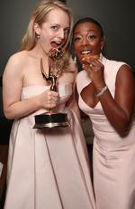 Best Lead Actress in a Drama winner (for The Handmaid's Tale) Elizabeth Moss and Samira Wiley attend Hulu's 2017 Emmy After Party at Otium in Los Angeles, California. Picture: Todd Williamson/Getty Images for Hulu