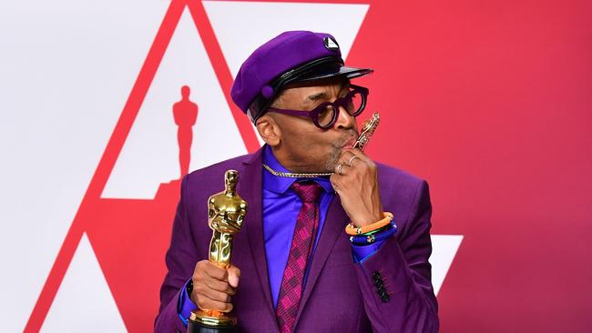 Spike Lee in the media room after his win. Photo: Frederic J. Brown /AFP