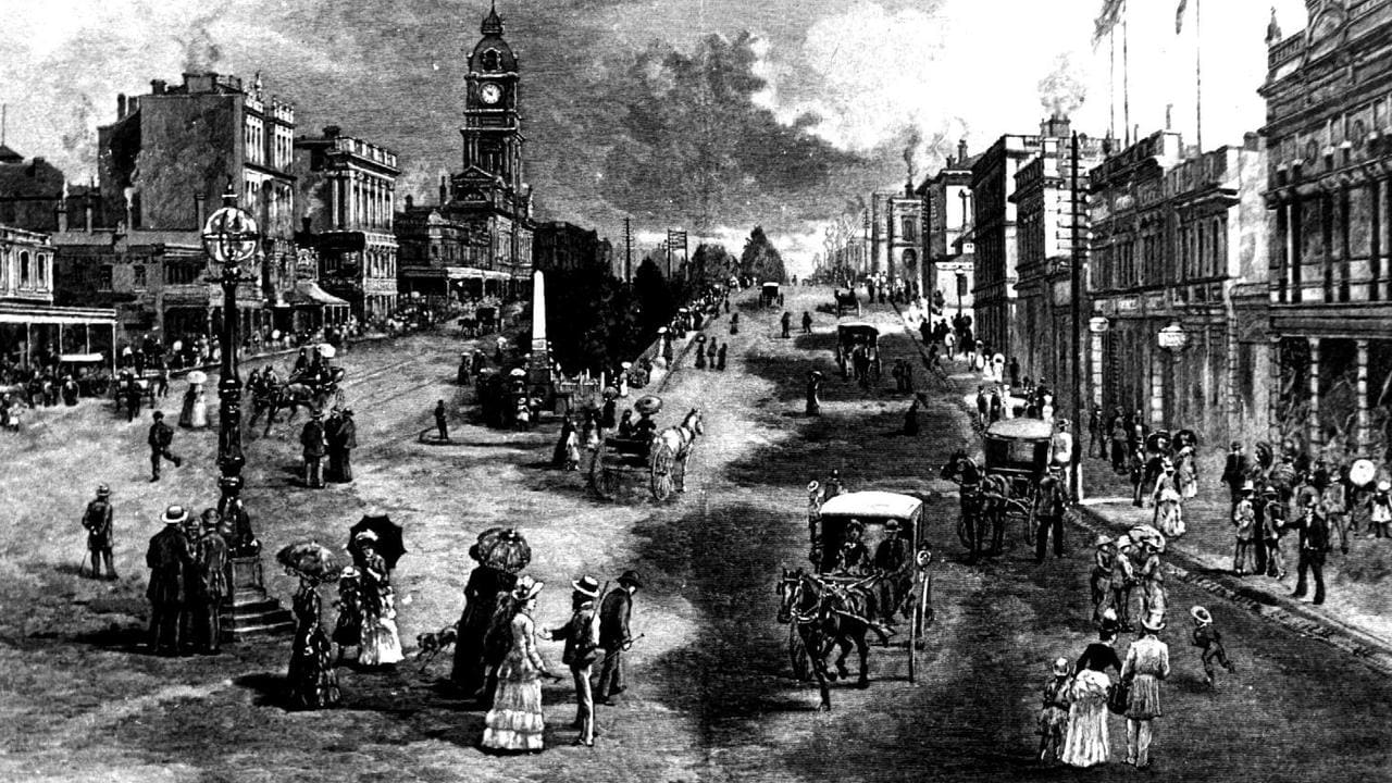 A drawing of Sturt Street, Ballarat, during the boom times of the Gold Rush