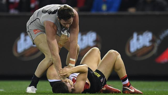 Jed Lamb has been offered suspension for this scuffle with Jade Gresham on Friday night. Picture: AAP