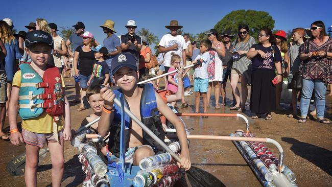 Luke Mustey with ' Little Laser' prepares to compete in the Darwin Lions Beer Can Regatta. Picture: Keri Megelus