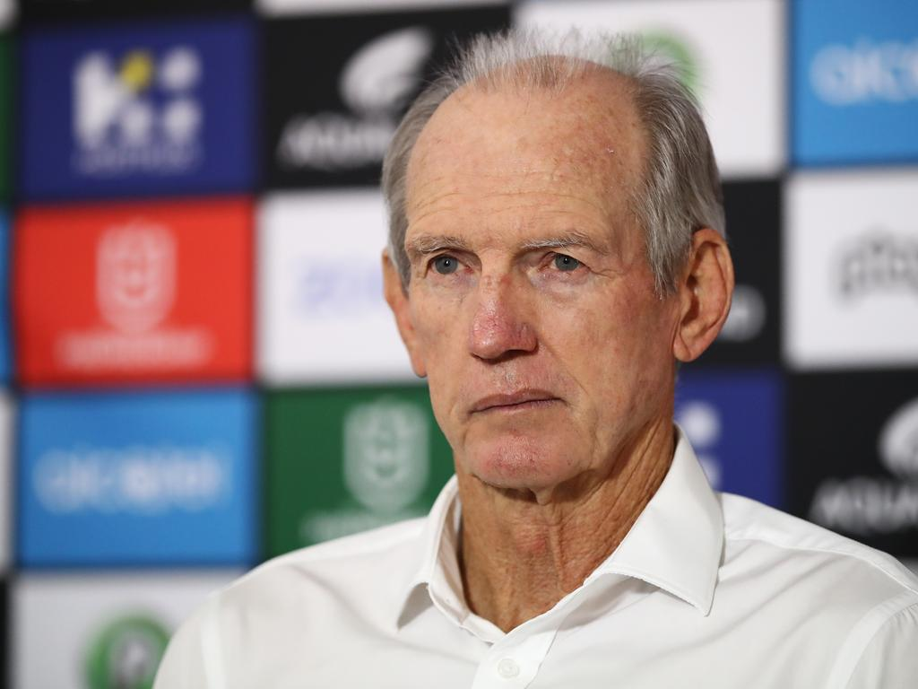 Rabbitohs coach, Wayne Bennett speaks with the media following the Round 8 NRL match between the South Sydney Rabbitohs and the Brisbane Broncos at ANZ Stadium in Sydney, Thursday, May 2, 2019. (AAP Image/Brendon Thorne) NO ARCHIVING, EDITORIAL USE ONLY