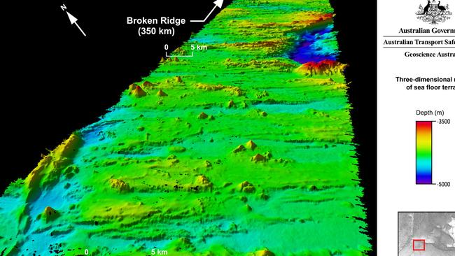 From Geoscience Australia ... the MH370 search area encompassing the seabed on and around Broken Ridge. AFP PHOTO/GEOSCIENCE AUSTRALIA