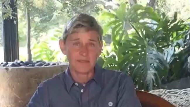 """Ellen is recording from her Beverly Hills """"prison"""". Picture: YouTube."""