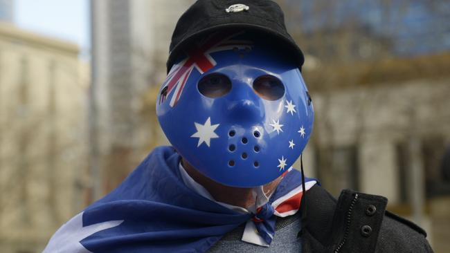 The United Patriots Front and Reclaim Australia groups faced off with anti-racism protesters at Parliament House in Melbourne on Saturday. Picture: AAP/Tracey Nearmy